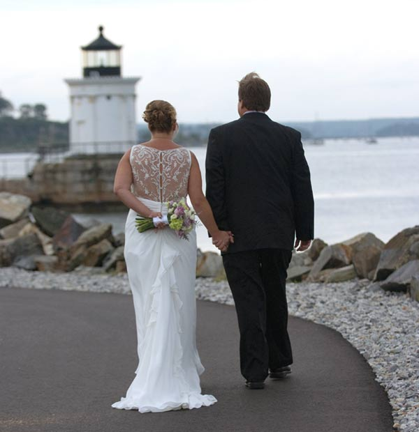 Bride and Groom at Spring Point lighthouse, South Portland, Maine