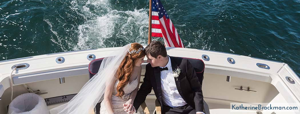 Bride and Groom in a motorboat off the coast of Maine